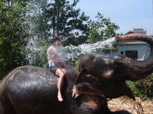 Having a shower in Thailand
